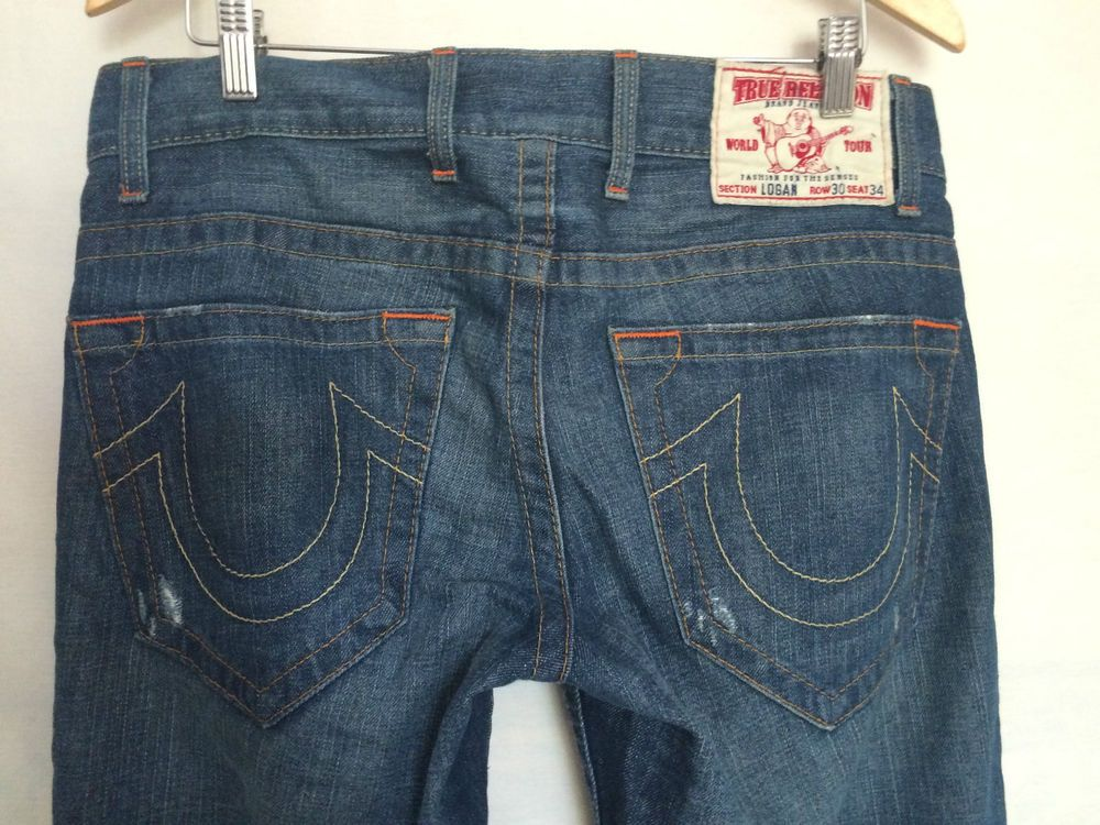 True Religion Logan Button Fly 30 x 34 Straight Leg Distressed ...