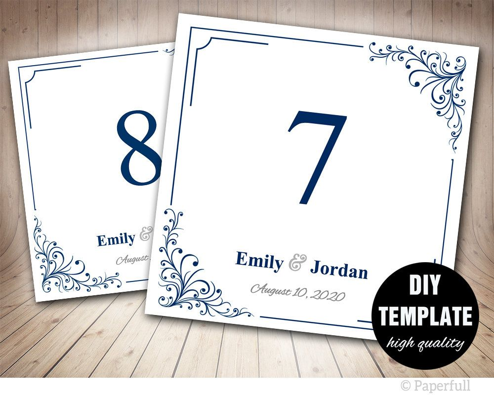 Blue Wedding Table Card TemplatePrintable Table Number Template