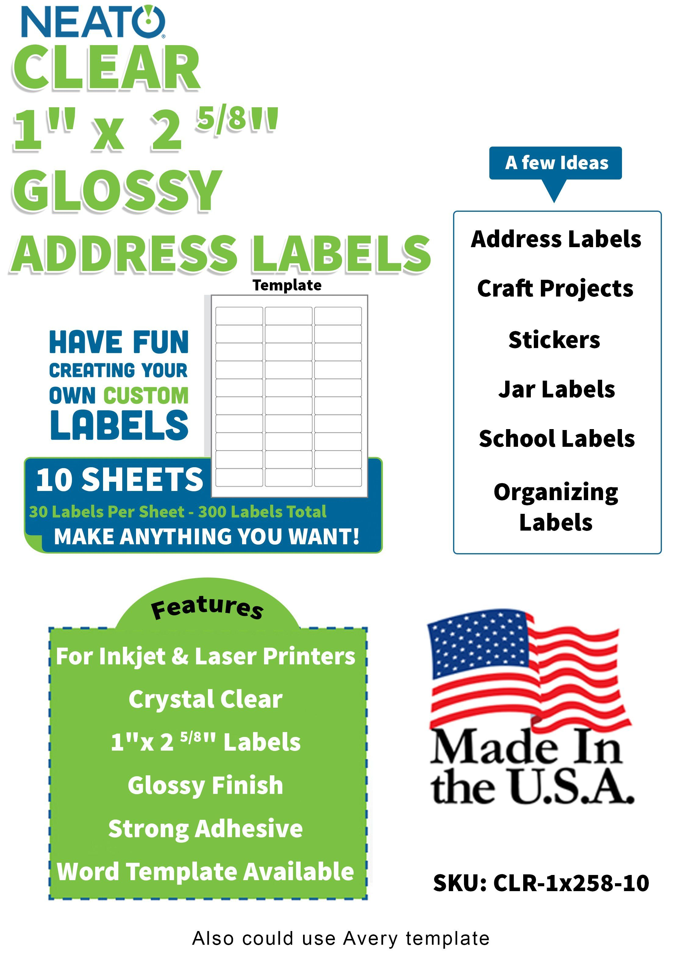 Blank Crystal Clear Labels 1 X 2 5 8 In 2020 Clear Sticker Paper Clear Sticker Labels Printable Sticker Paper