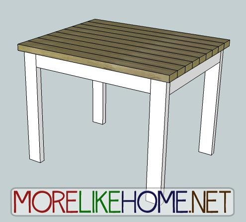 More Like Home: Day 30 - Build a 2x4 Table, increase dimensions, could be a cute cottage style kitchen table