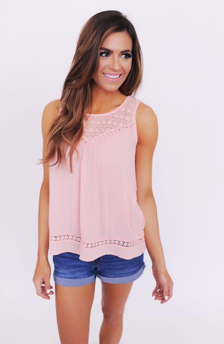 Pink Crochet Detail Split Back Tank - Dottie Couture Boutique