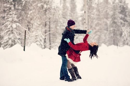 Dancing in the snow .
