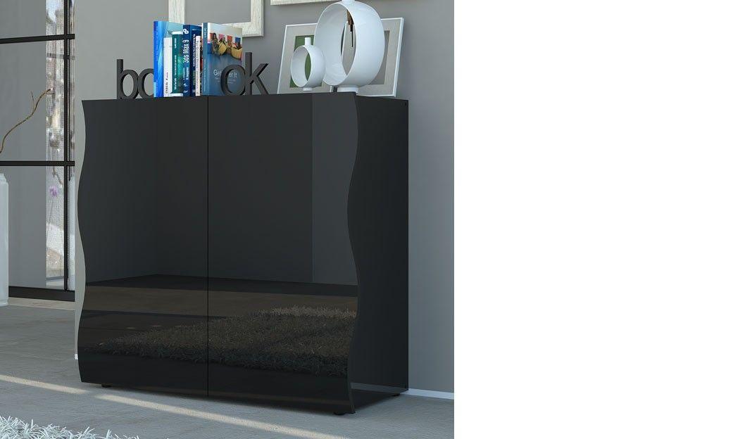 Buffet design noir laqué design 2 portes PANGO | Buffet ...