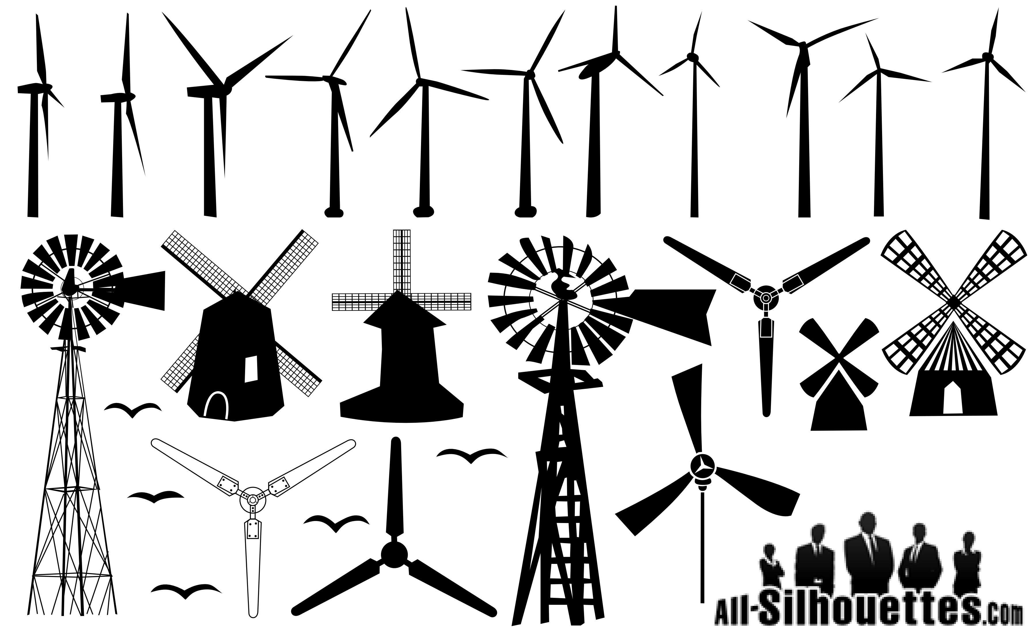 20 Windmill Silhouettes Windmill Tattoo Windmill Free Vector Art