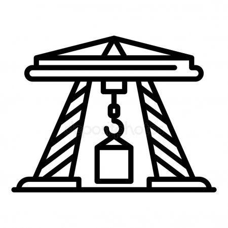 Sea port crane icon outline style  Stock Vector