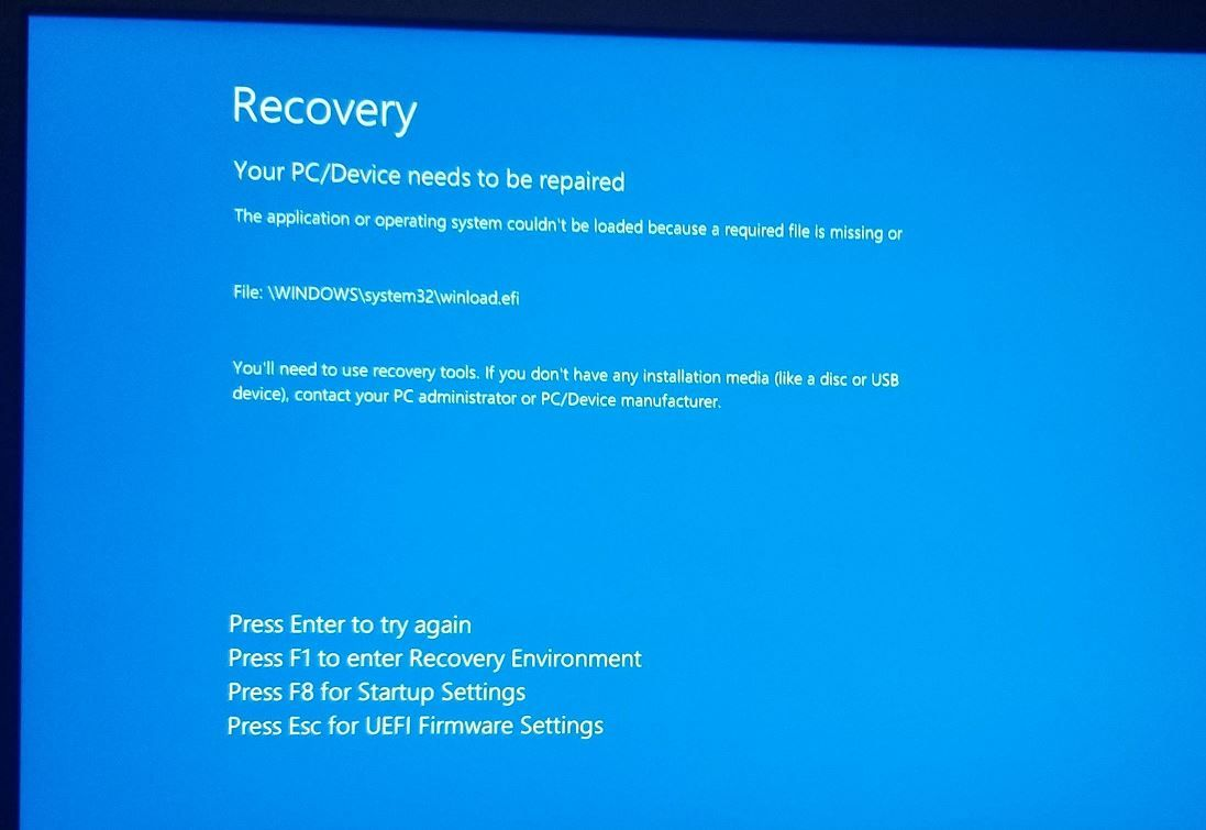 Solved Windows 10 Boot Error 0x0000c225 Winload Efi Is Missing Or
