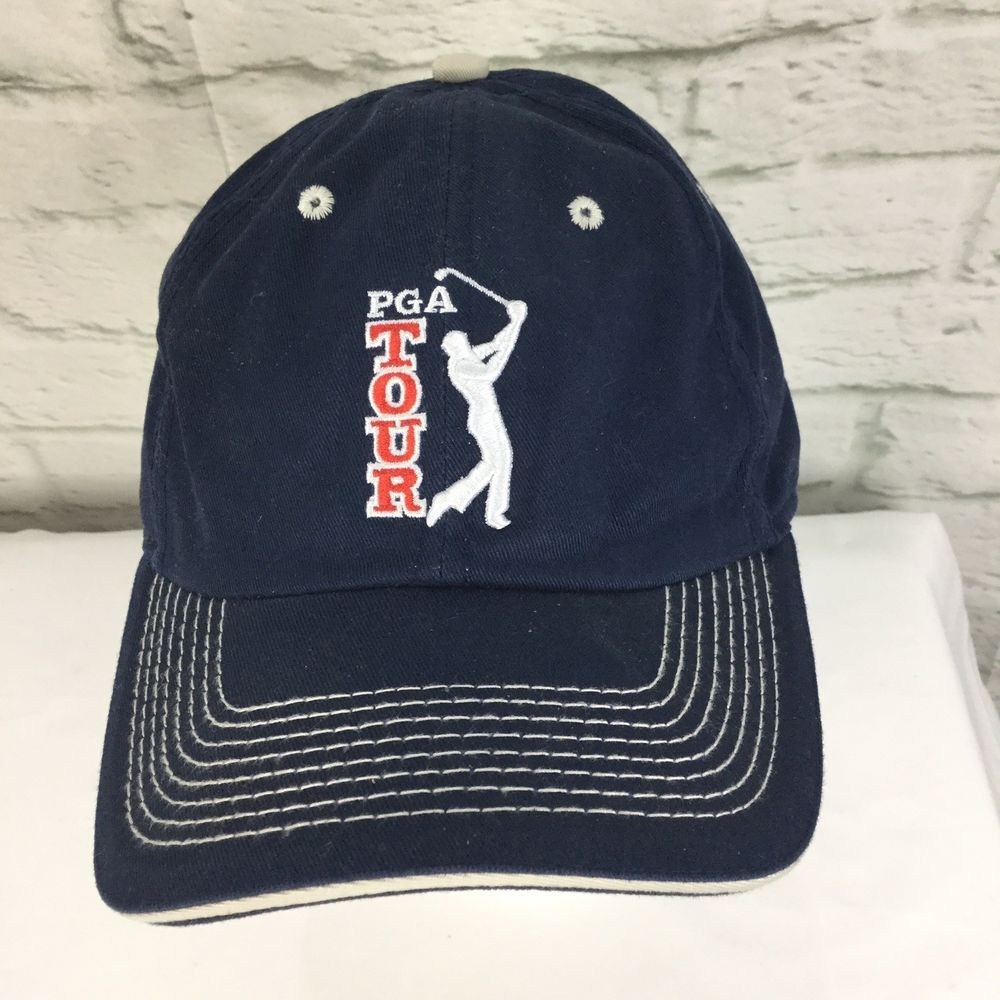 Vintage PGA Golf Tour The Game Headwear Blue Baseball Hat Adjustable Cap   HeadwearByTheGame  BaseballCap f7fb74a539f
