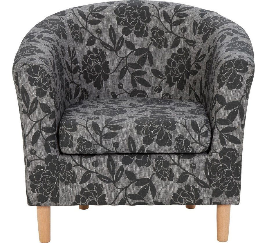 buy home floral fabric tub chair charcoal at argos co uk your