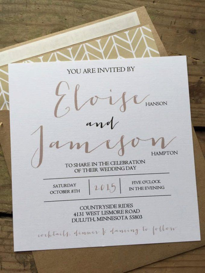 Delightful Square Wedding Invitations With A Rustic Look And Feel. Kraft Paper  Envelopes, An Elegant Calligraphy Font, And Twine Are A Few Details The Ideas