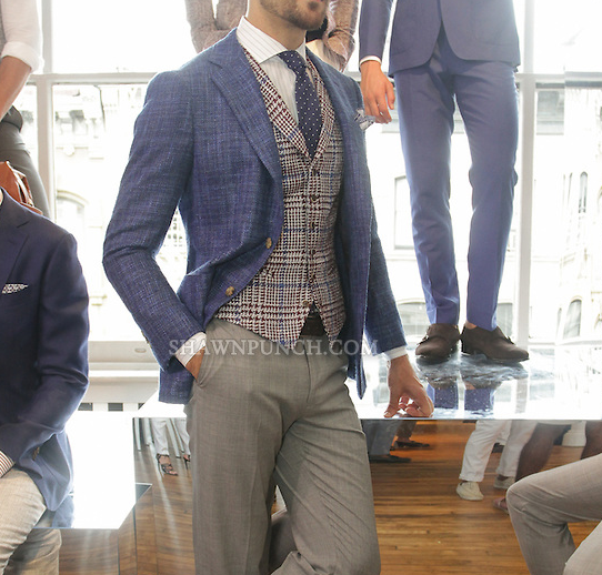 Suitsupply summer 2016 - gray tropical wool pants, blue linen ...