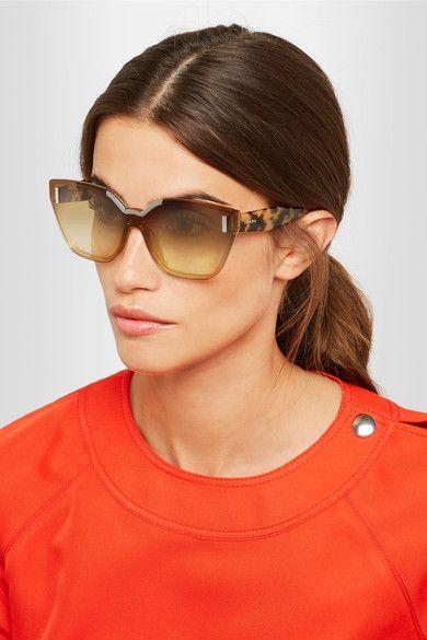 a6c321a5dc2 PRADA stylish Cat-eye tortoiseshell acetate and silver-tone sunglasses