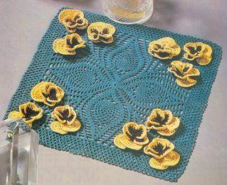 Toalha Amor-Perfeito de Crochê  Padrão -  /   Towel Pansy Doily than Crocheting Standard -