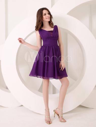 Robe demoiselle d'honneur en chiffon violet foncé de col V