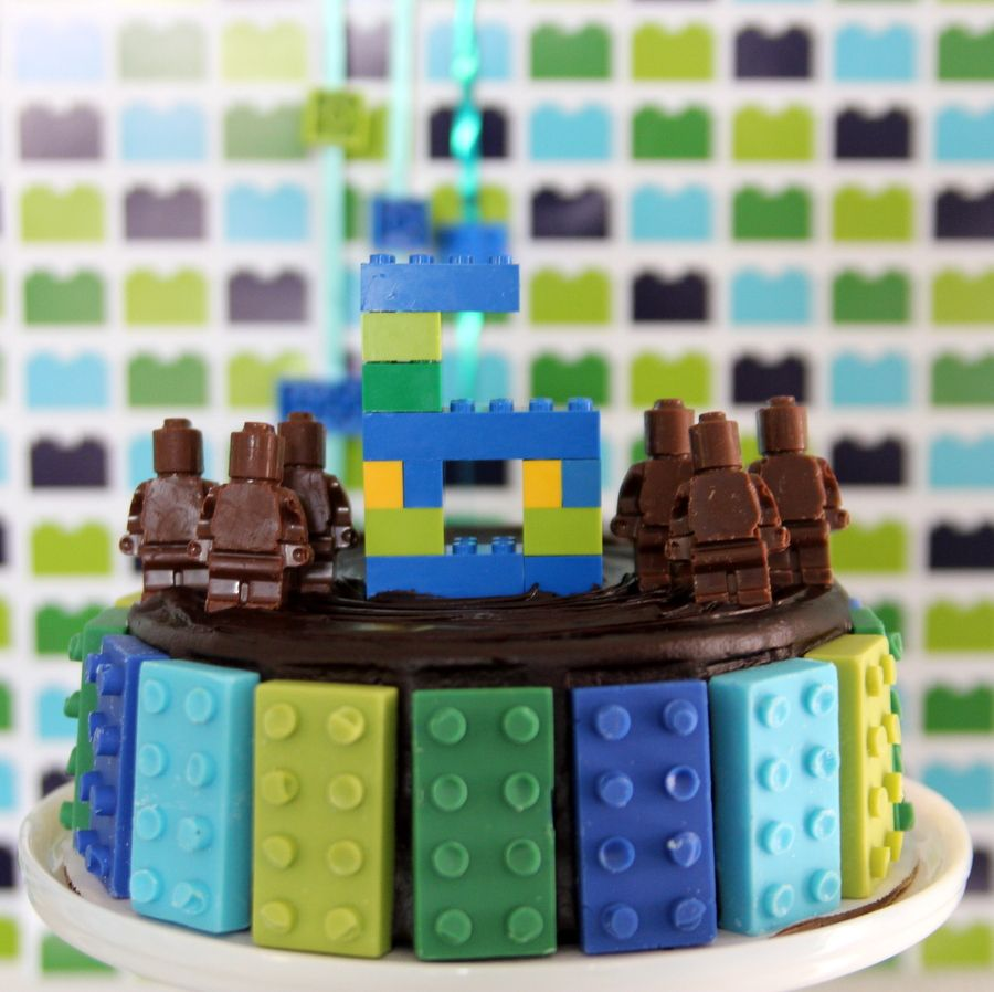 Lego Birthday Party Lego Cake Topper Made Out Of Real Legos