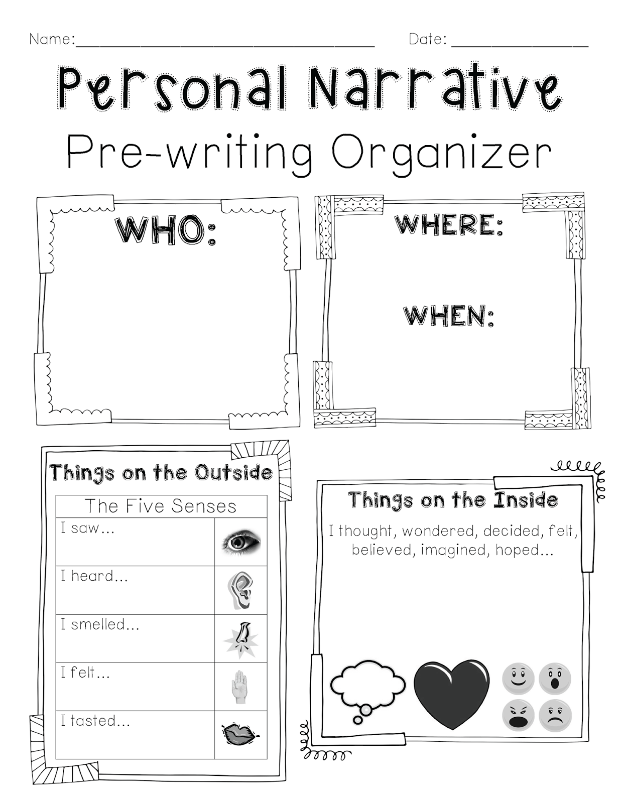 Personal Narrative PreWriting Organizer  Teaching
