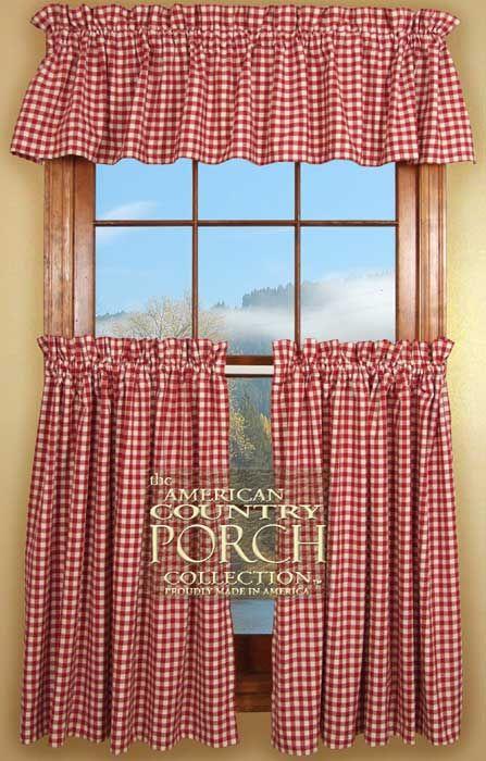 Cottage Red Check Curtain Valances | Interior Decorating ...