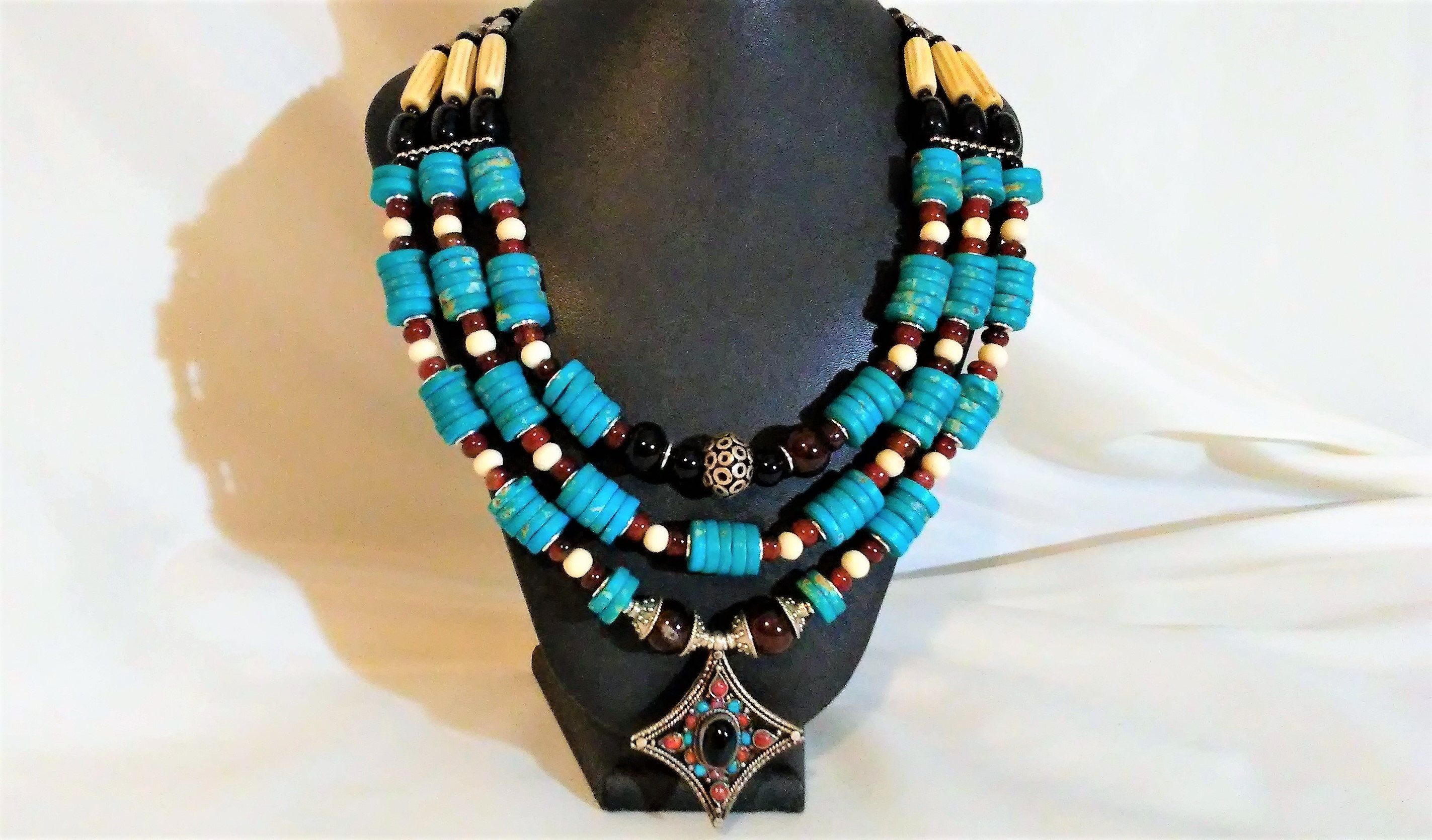 Tribal Necklace Tribal Jewelry Chunky Necklace Necklace for Women Large Hippie Necklace Blue Bead Necklace Blue Statement Necklace