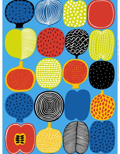 Vatruska Fabric Blue/Multi - MARIMEKKO