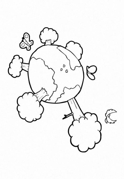 Dibujo para colorear Naturaleza - clima - la tierra. Ilustración ...