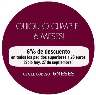 Hoy, 27 de septiembre, cumplimos 6 meses, y lo celebramos con un pequeño descuento  www.quiquilo.es