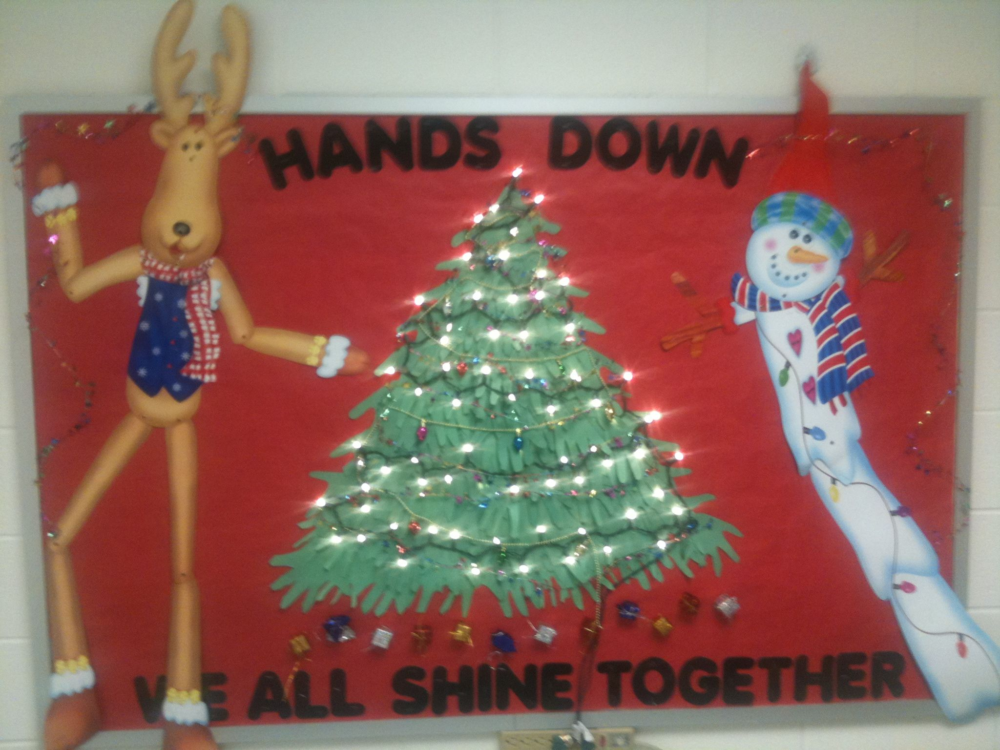 Christmas Bulletin Board Tree Made From Student Handprints