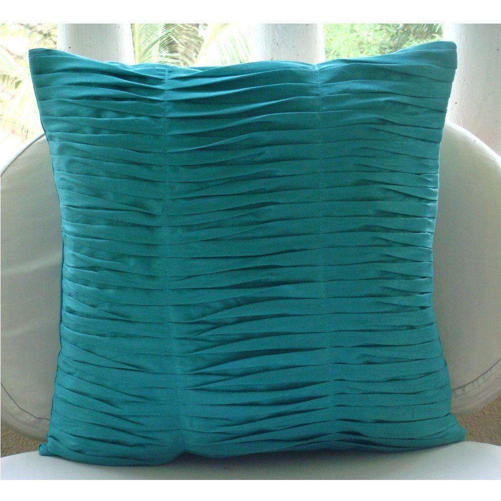 Aqua Blue Textured Pintucks Pillow Covers 20x20 Silk
