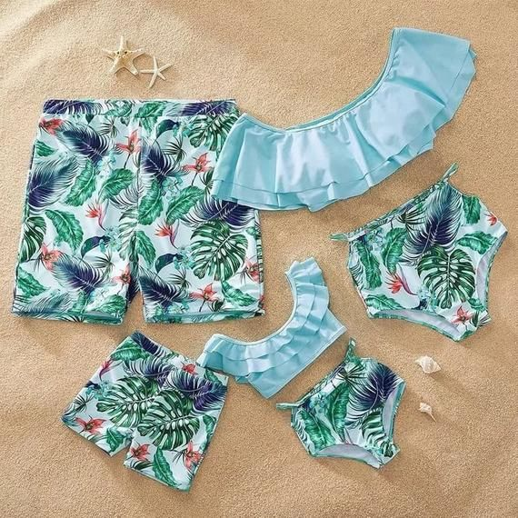 Matching family swimsuit set Blue Flowers swimming costume bikini shorts mummy mother daughter father son 2020 – Swimsuits 2020 trends