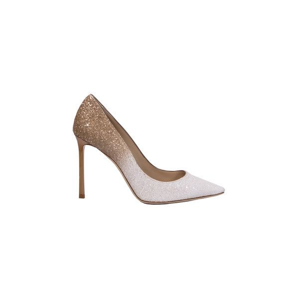 Jimmy Choo Romy Pump Heels (€500) ❤ liked on Polyvore featuring shoes, pumps, heels, white, gold glitter shoes, white pointed-toe pumps, pointy-toe pumps, heels stilettos and white pointy toe pumps