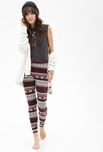 Fair Isle Patterned Leggings | FOREVER21 - 2000085556 With a long ...