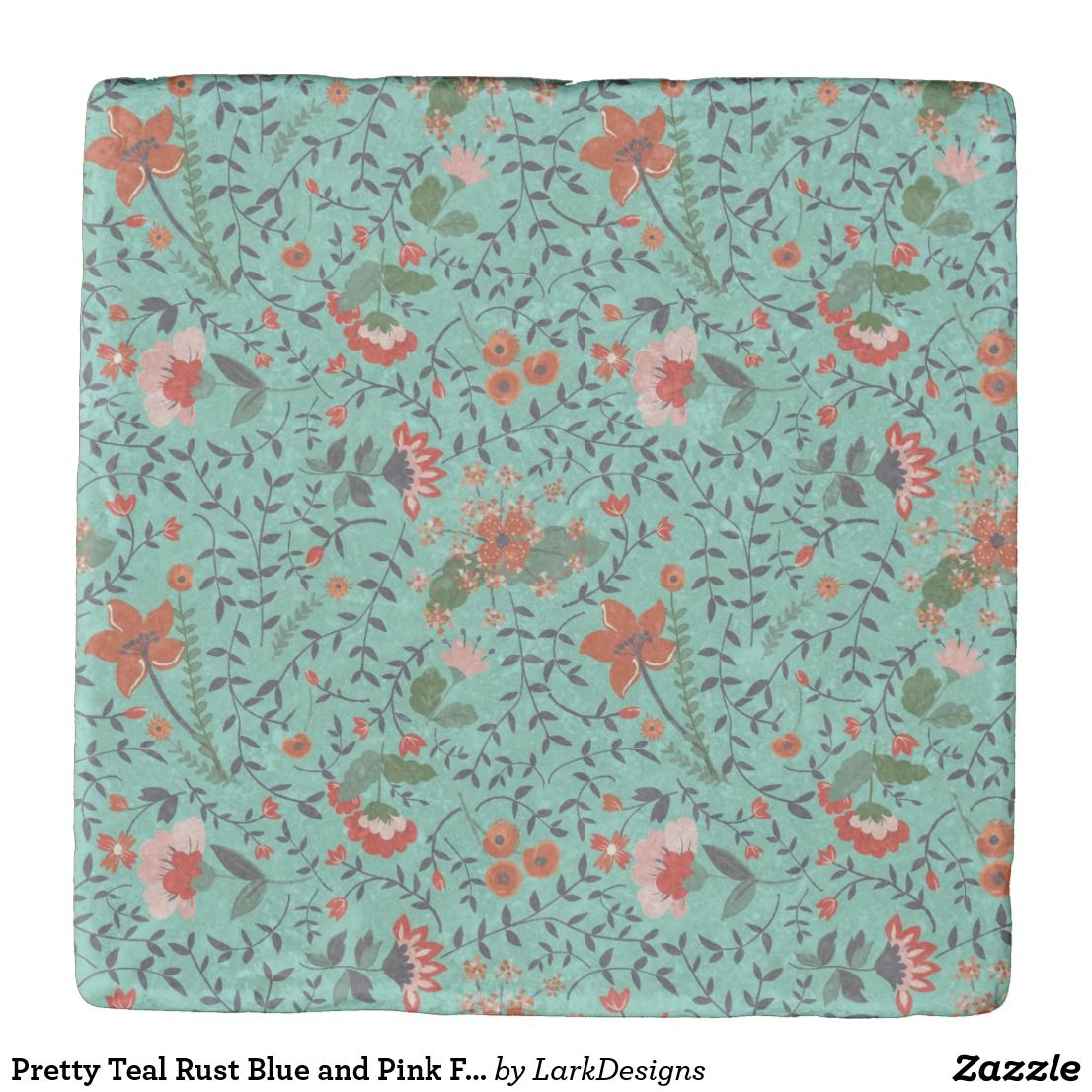 Pretty Teal Rust Blue And Pink Floral Pattern Stone Coaster