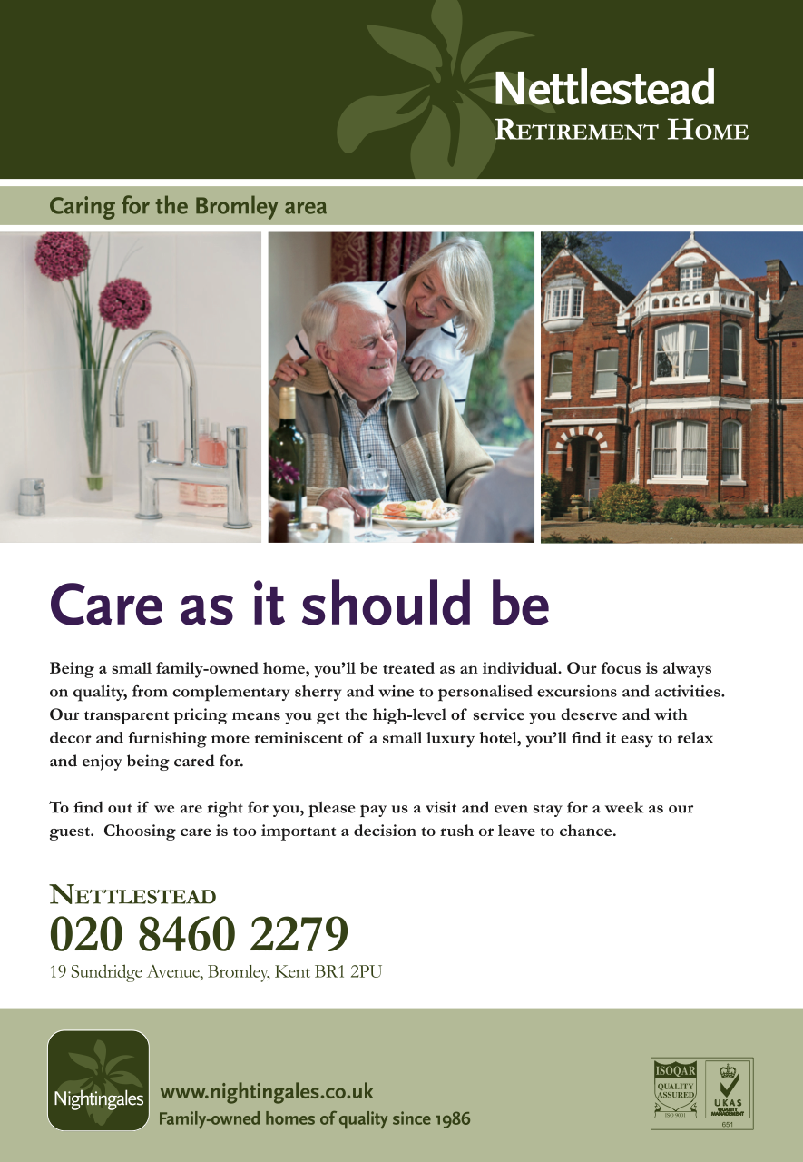 RONIN Designed This Ad For Nightingales To Promote Their Nettlestead Retirement Home