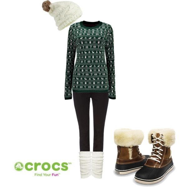 """""""Christmas Sweater Chic"""" by crocsshoes on Polyvore. Stay cozy and festive with #Crocs luxe duck boots during the #Christmas season #winter #women #fashion #style #Cozy"""