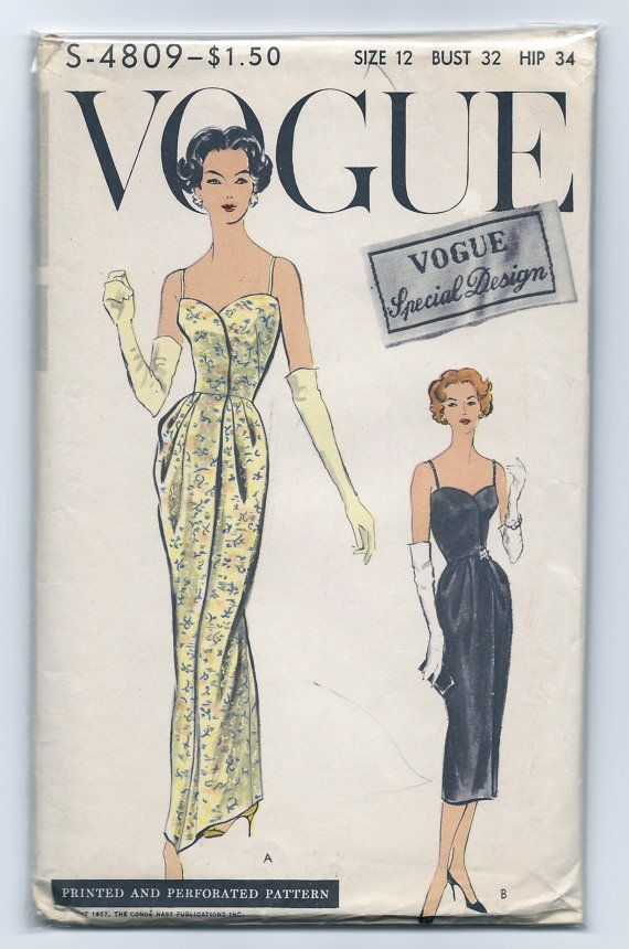 Vintage 1950s Vogue Special Design S-4809 Elegant Gown with Clam ...