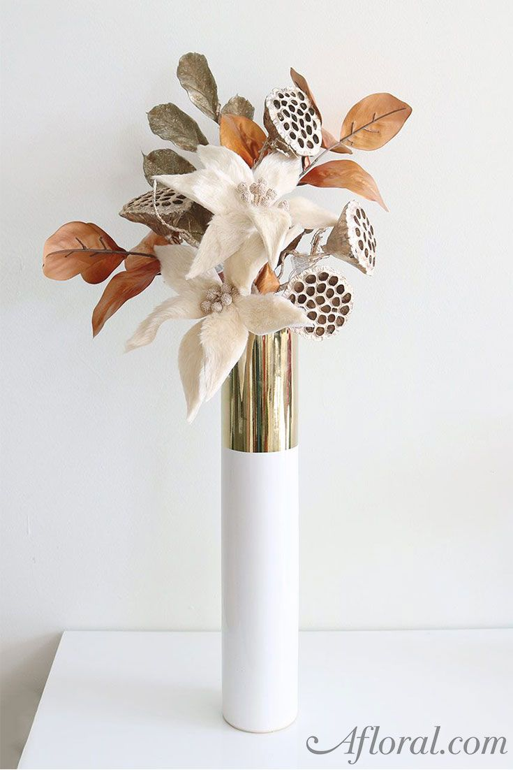 Tall klein ceramic cylinder floral vase in white and metallic gold gorgeous fall floral arrangement in this stunning tall klein ceramic cylinder floral vase in white and reviewsmspy