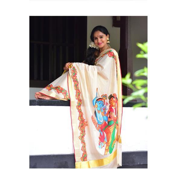 Kerala Traditional Saree With Radha Krishna Mural Art ...  Kerala Traditio...