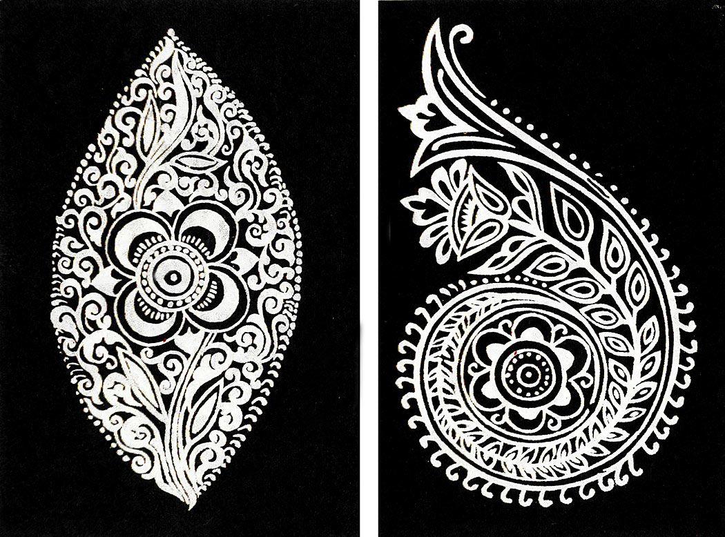 Set of two hand painted white rangoli design on handmade paper painting on handmade paper