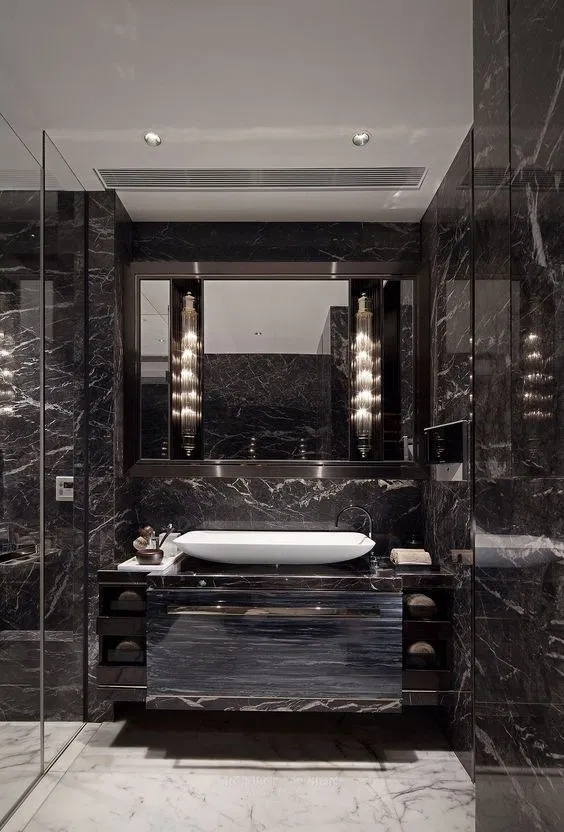 68 Stunning Black Marble Bathroom Design Ideas In 2020 Luxury Bathroom Master Baths Bathroom Design Luxury Black Marble Bathroom