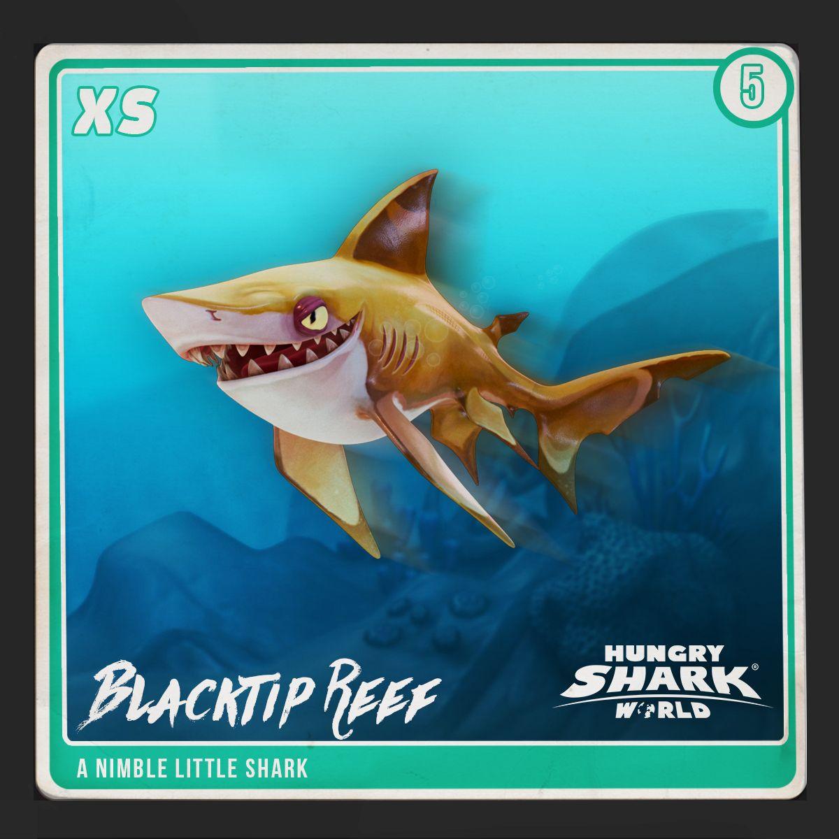 sharkarium card number 5 blacktip reef hungry shark world