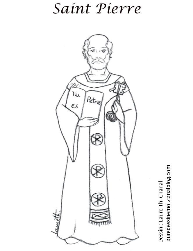 St Peter The Apostle First Pope Catholic Adult Coloring Page