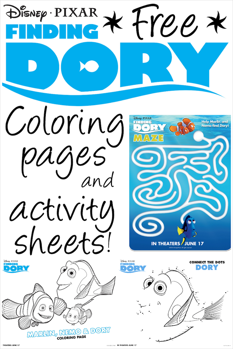 Finding Dory Printable Coloring Pages and Activity Sheets | Kid ...