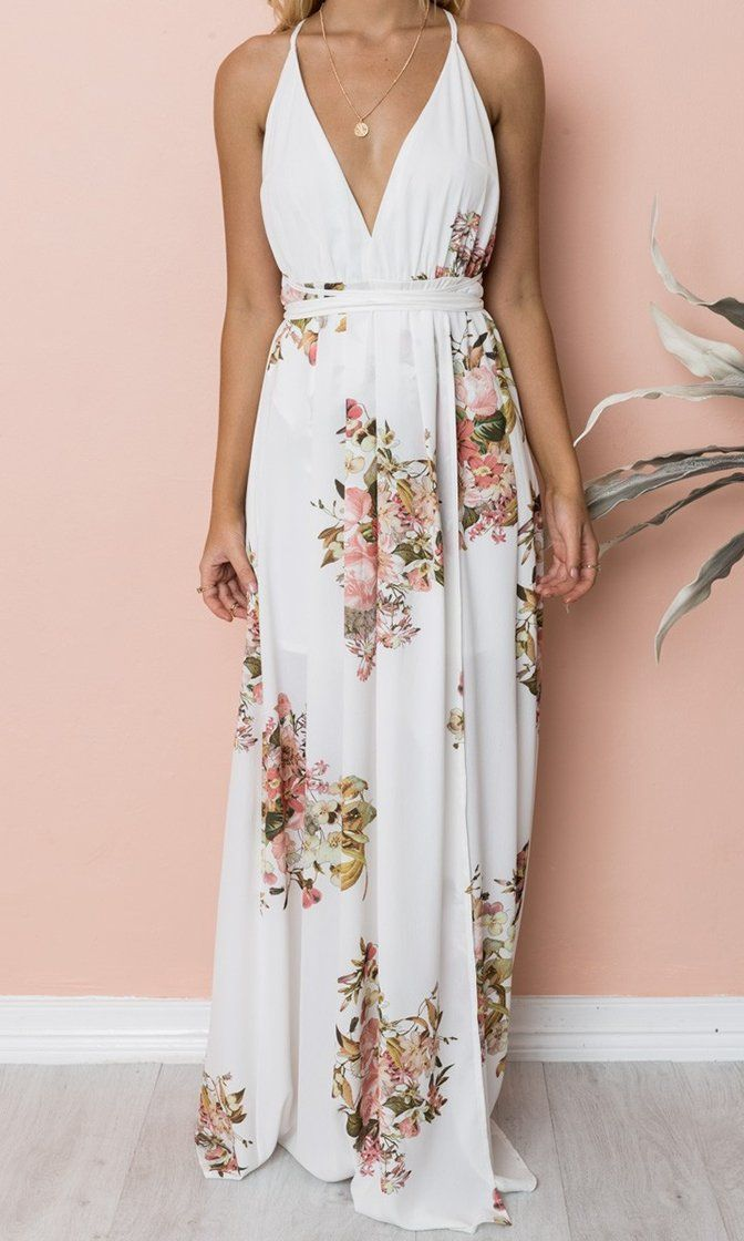 a5f34473224c Summer House Floral Pattern Sleeveless Spaghetti Strap V Neck Backless High  Slit Casual Maxi Dress - 2 Colors Available