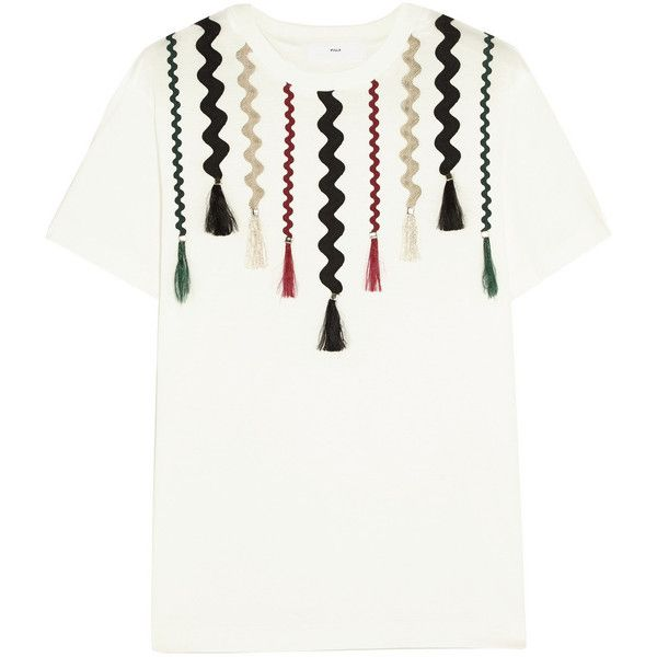 Toga Pulla appliquéd cotton-jersey T-shirt (305 CAD) ❤ liked on Polyvore featuring tops, t-shirts, tassel top, white tees, white tops, white t shirt and cotton jersey