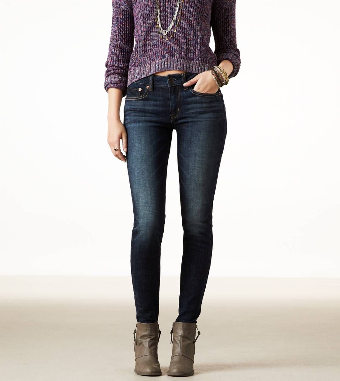 Dark Wash Jeans- American Eagle Outfitters. Love the way the purple sweater  looks with - Dark Wash Jeans- American Eagle Outfitters. Love The Way The