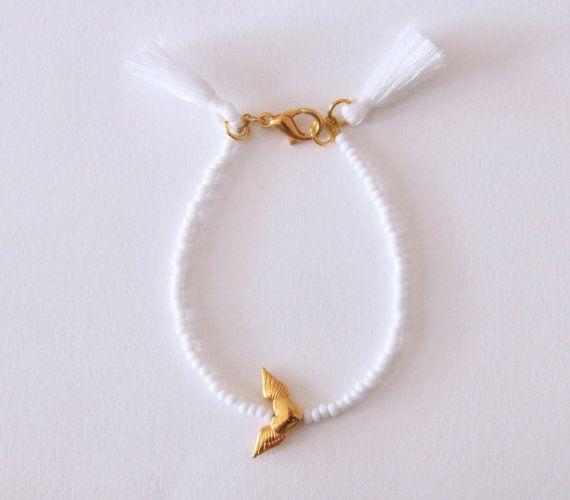 WHITE Heart Charm Boho Bracelet  Bridesmaid by NataliesWunderland