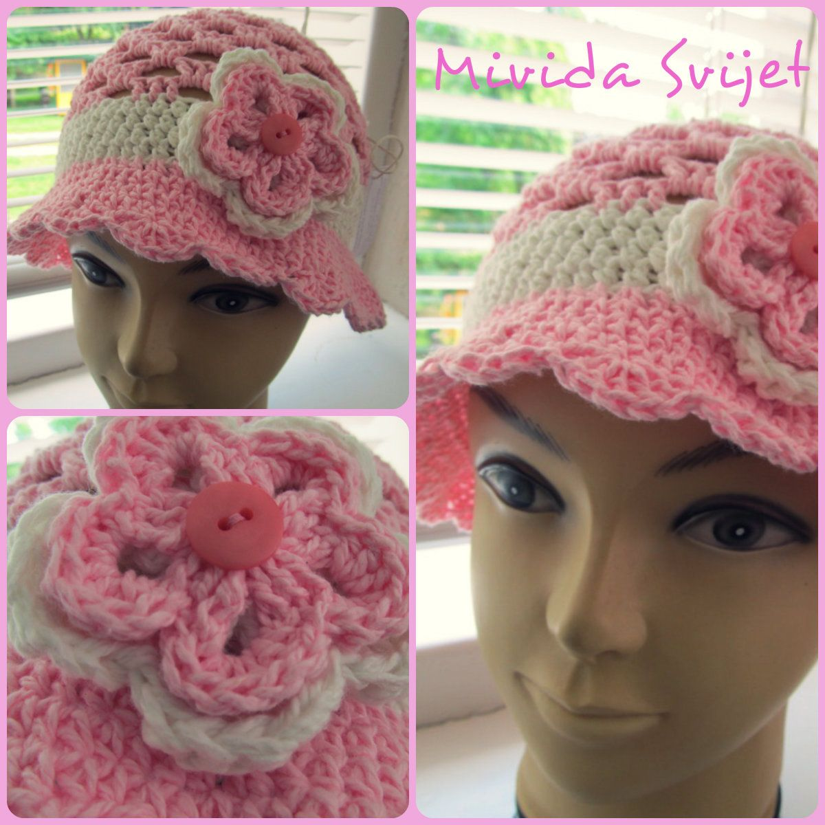 crocheted hat for girls made of 100% cotton