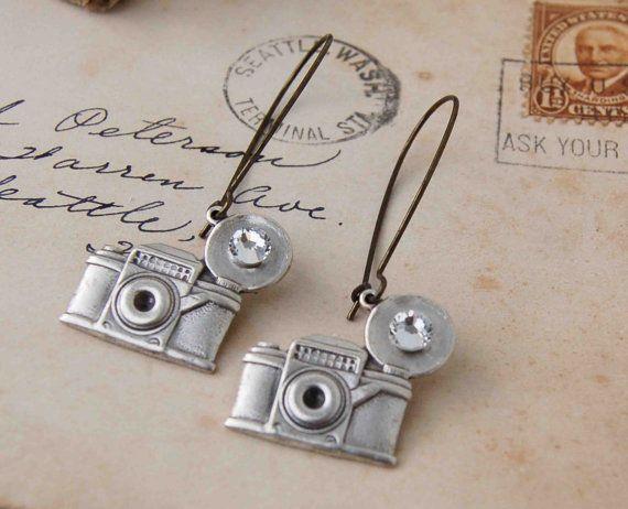 Retro CAMERA Earrings Silver Camera Rhinestone by redtruckdesigns