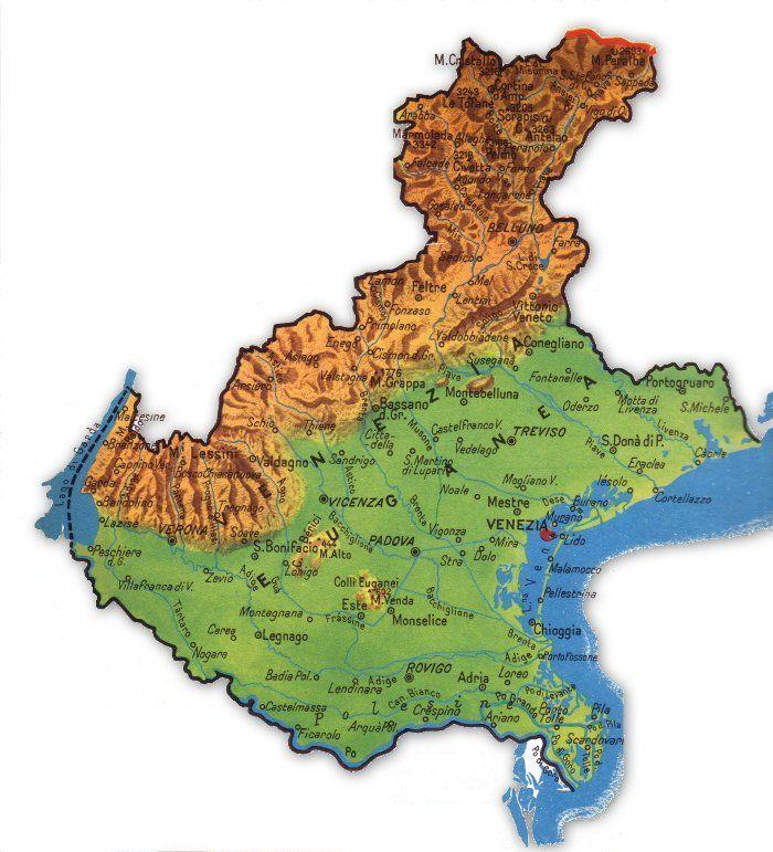 Cartina Dettagliata Veneto.Cartina Geografica Del Veneto Nel 2021 Geografia Mappa Dell Italia Mappe
