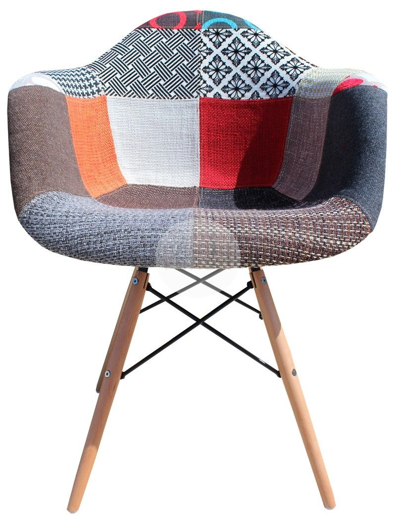 DAW Eames Chair Replica   Vintage Patchwork Chair Timber