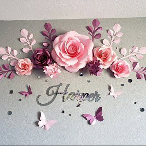 Paper Flower Wall - Paper Flower Backdrop - Wedding Wall - Wedding Backdrop - Large Paper Flowers - Paper Wedding(code:#130)