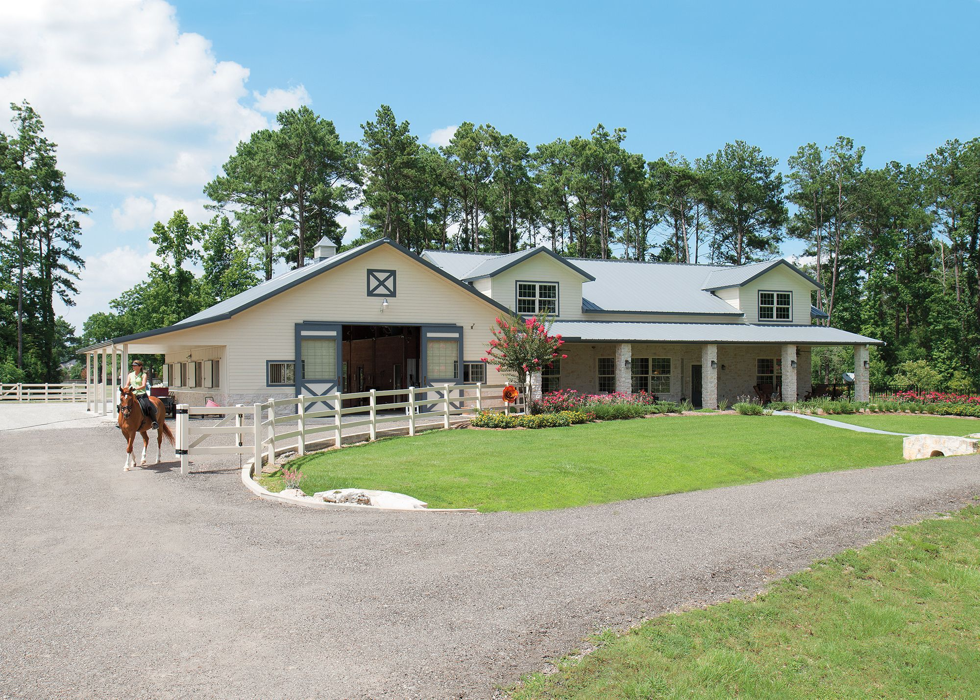 morton buildings horse barn with attached residence in